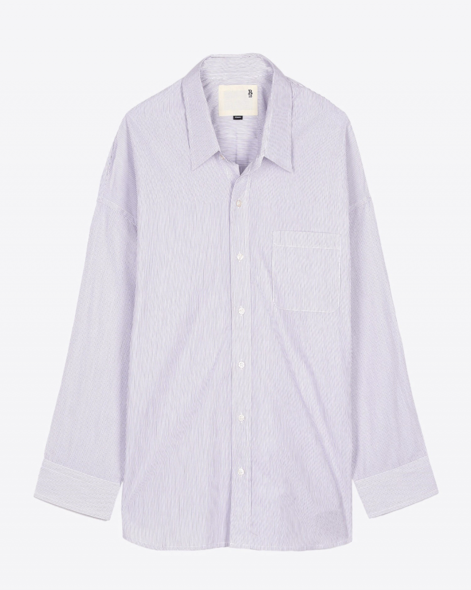 R13 Denim Pré-Collection SW Drop Neck Button Up Shirt - Purple Pinstripe