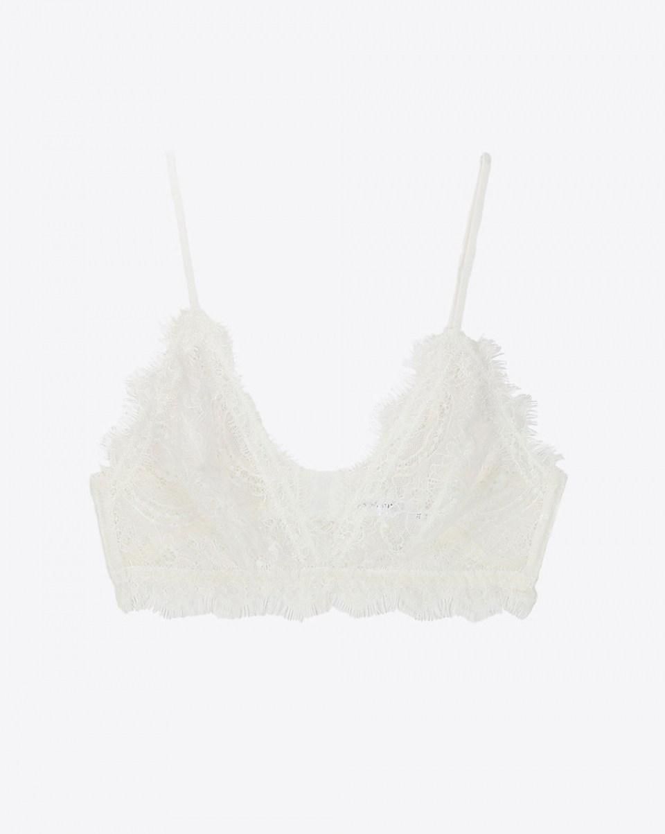 Anine Bing Permanent Lace Bra with Trim - Ivory