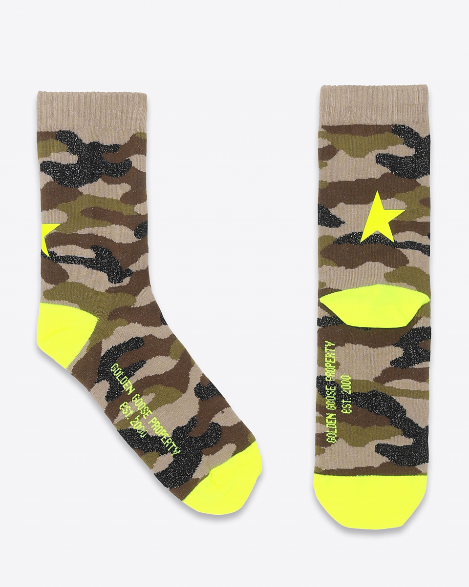 Golden Goose Accessoires Collection Socks Camouflage - Yellow Fluo 81264