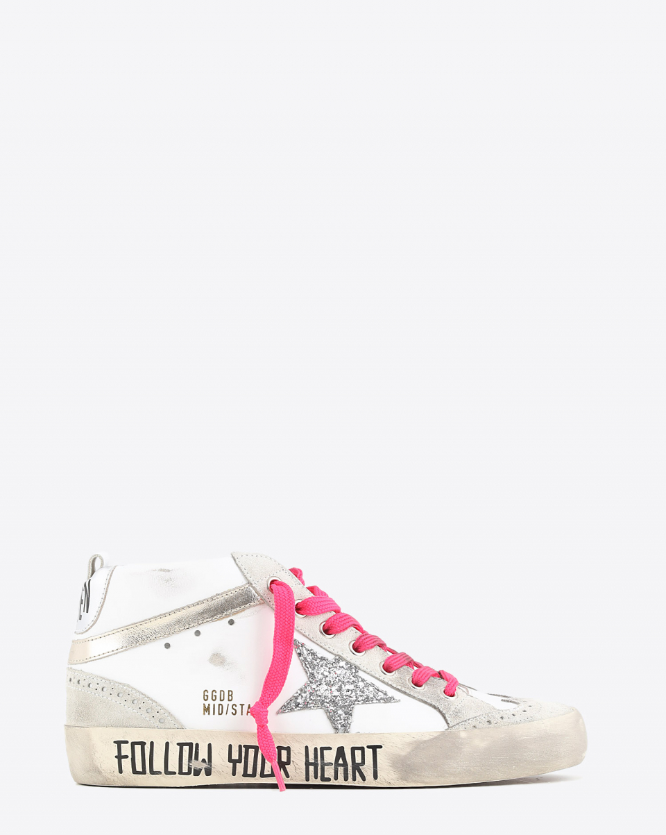 Golden Goose Woman Sneakers Mid Star - White Silver Platinium 10740