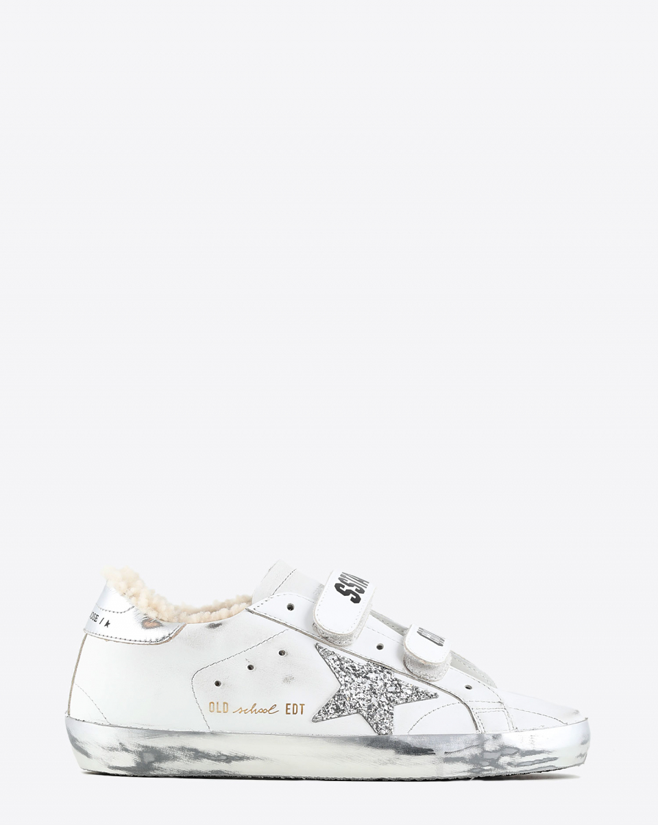 Golden Goose Woman Collection Sneakers Old School Glitter Star Shearling