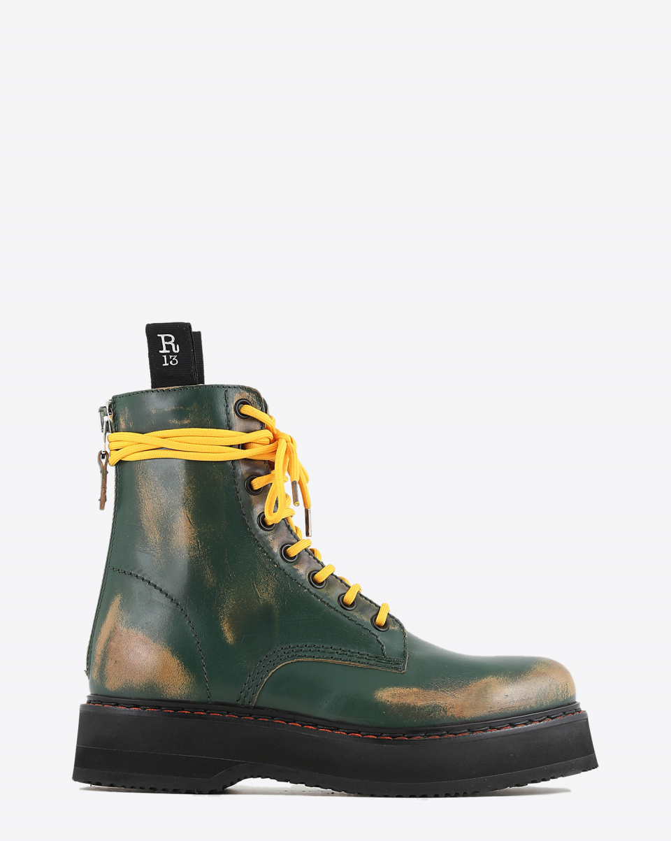 R13 Denim Collection Single Stack Boot - Hunter Green Remove