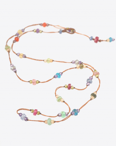 Sharing Bracelet 3 Tours/Collier Court LOOPY SPARKLY - Cordon Tabac