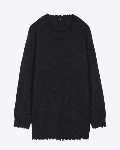 R13 Denim Permanent Boyfriend Crewneck Cashmere Sweater - Charcoal