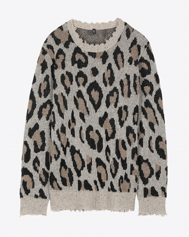 R13 Denim Permanent Leopard Cashmere Crewneck Sweater - Leopard