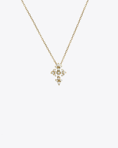 Feidt Collier Mini Croix Huguenote - Or Jaune 18K et Diamants