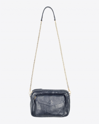 Claris Virot Sac Python Big Charly Navy Chaine Or