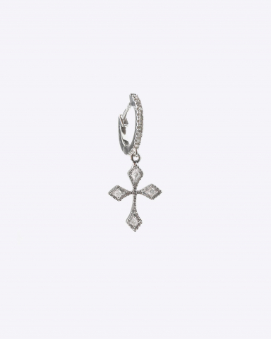 De Jaegher Mini Créole Baby Cross Or Blanc & Diamant