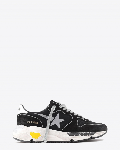 Golden Goose Men Permanent Sneakers Running Sole - Black Lycra - Silver Star 90178