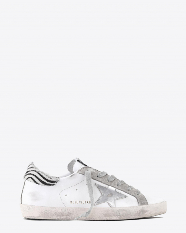 Golden Goose Woman Collection Sneakers Superstar - White Leather - Metal Silver Star - Pony Ziger