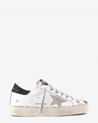 Golden Goose Woman Pré-Collection Sneakers Hi Star - White Leather - Cow Pony - Ice Suede Star