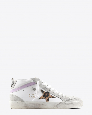 Golden Goose Woman Pré-Collection Sneakers Mid Star - White Leather -Leopard Star