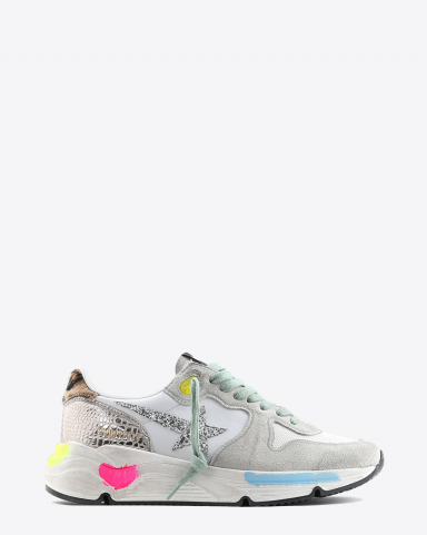Golden Goose Woman Pré-Collection Sneakers Running Sole - Ice Suede - Gold Cocco - Glitter Star