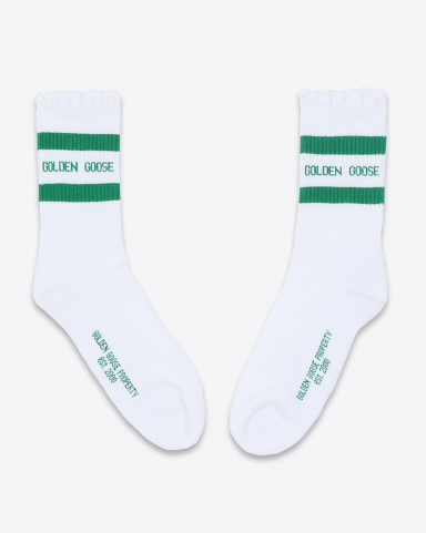 Golden Goose Accessoires Collection Socks Ripped - Old White Green 81237