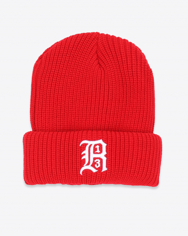R13 Denim Collection Beanie W/Embroidery - Red