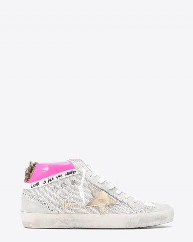 Golden Goose Woman Collection Sneakers Mid Star - Fuchsia Gold Beige Brown 80807