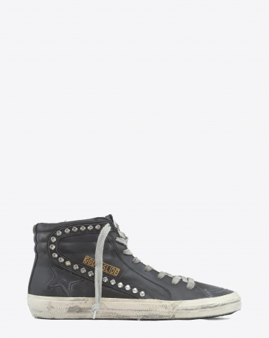 Golden Goose Woman Permanent Sneakers Slide Classic Leather Upper Studs - Black 90100