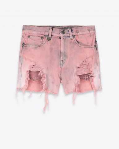 R13 Denim Collection Shredded Slouch Short - Faded Pink Garment