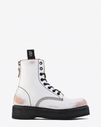 R13 Denim Collection Single Stack Lace Up Boots - White Remove