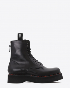 R13 Denim Permanent Single Stacked Lace Up Boots - Black