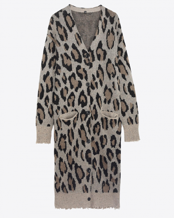 R13 Denim Permanent Long Leopard Cardigan - Leopard