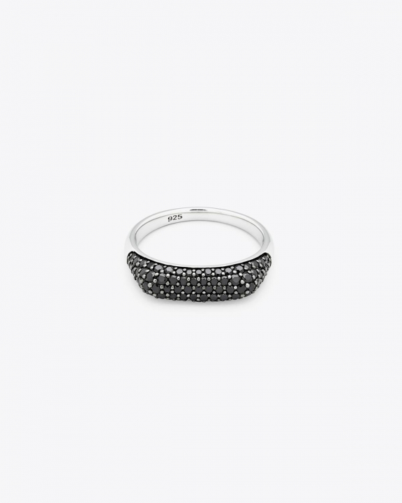 Tom Wood Knut Ring Black Spinel - Silver
