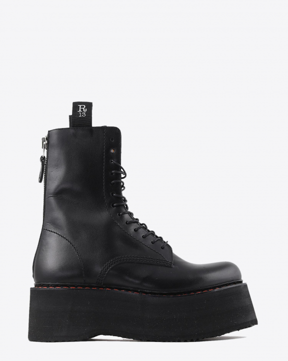 R13 Denim Permanent  Double Stacked Lace Up Boots - Black