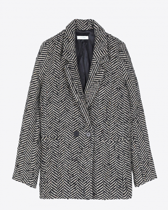 Anine Bing Fishbone Blazer - Cream And Black