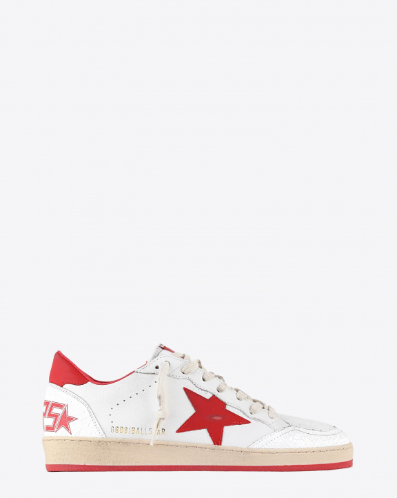 Golden Goose Men Ball Star - White Leather Crack - Stawberry Red Star 10275