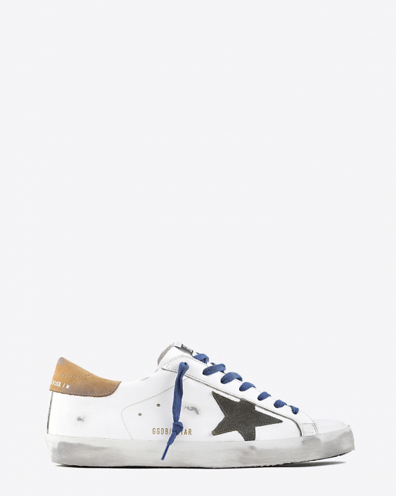 Golden Goose Men Superstar - White Leather Drill Green - Brown 10289