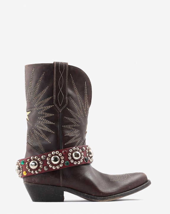 Golden Goose Woman Chaussures Collection Boots Wish Star Low - Dark Brown Leather - Belt