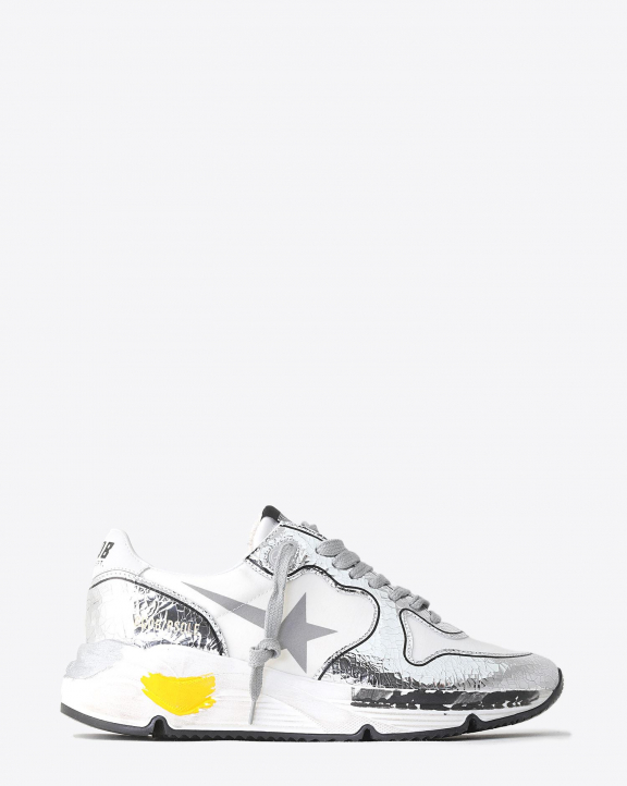 Golden Goose Woman Collection Sneakers Running Sole - White - Silver Crack