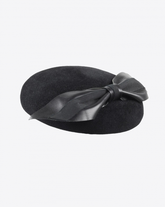 Laurence Bossion Chapeau Feutre Velours Gloria Noeud Pointe Cuir - Noir