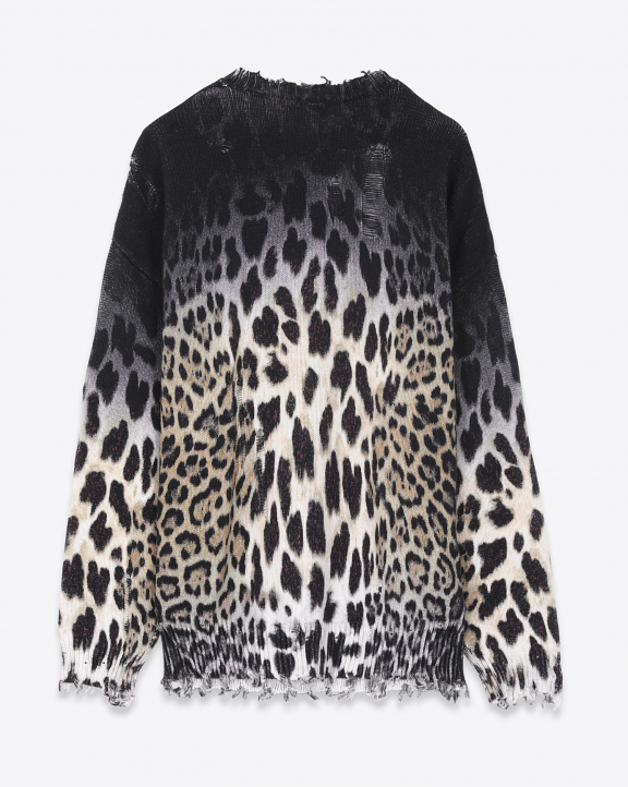 R13 Denim Collection Faded Leopard Oversize Sweater - Faded Leopard