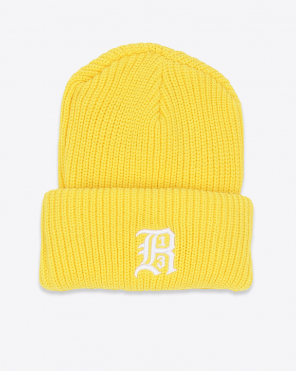 R13 Denim Collection Beanie W/Embroidery - Yellow
