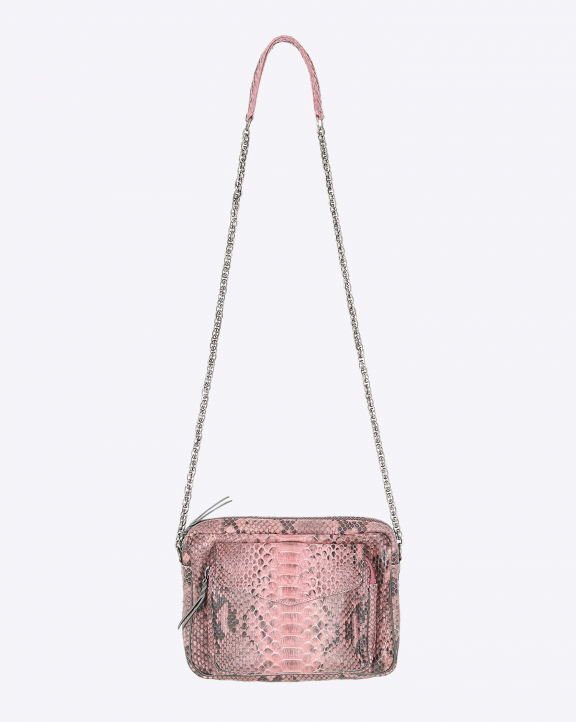Claris Virot Big Charly Python Rose Poudre - Chaine Argent
