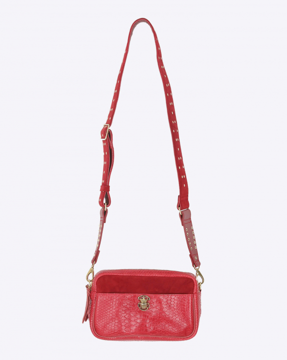 Claris Virot Lily Python Suede - Rouge