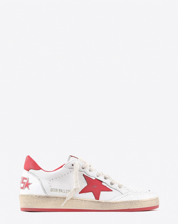Golden Goose Woman Pré-Collection Sneakers Ball Star White Leather - Stawberry Red 10275