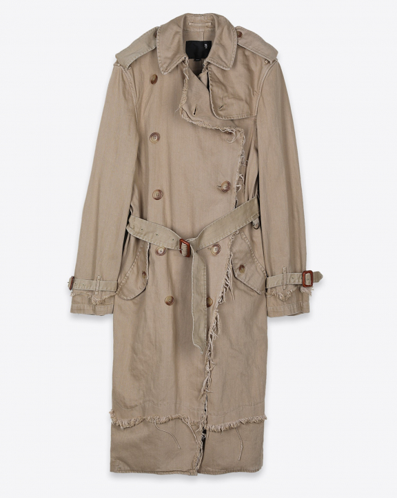 R13 Denim Collection Shredded Trench - Overdyed Beige