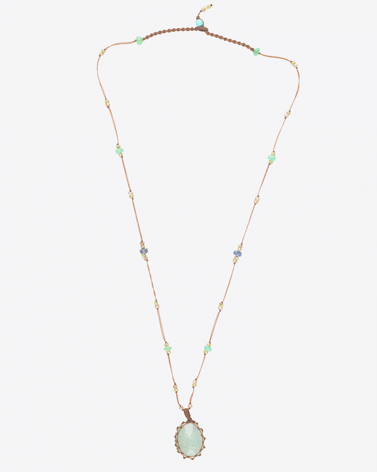 Sharing Collier Court TIBETAN Sur Cordon Tabac - Aquamarine