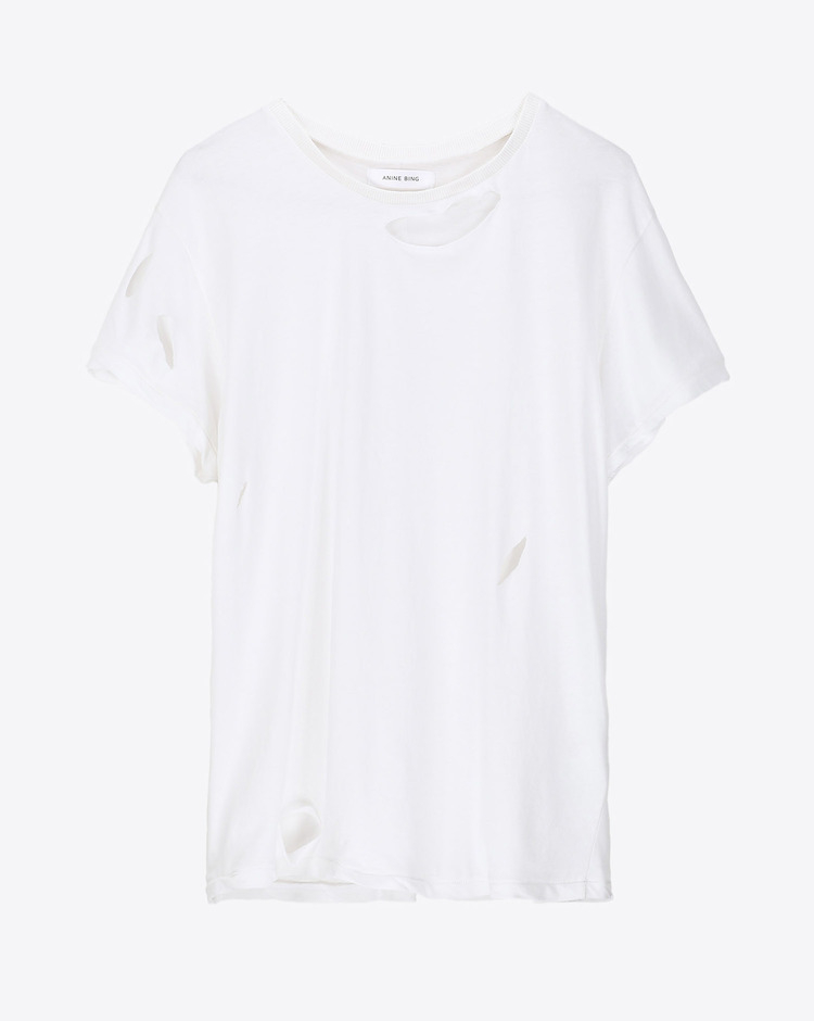Anine Bing Permanent Distressed TShirt - White