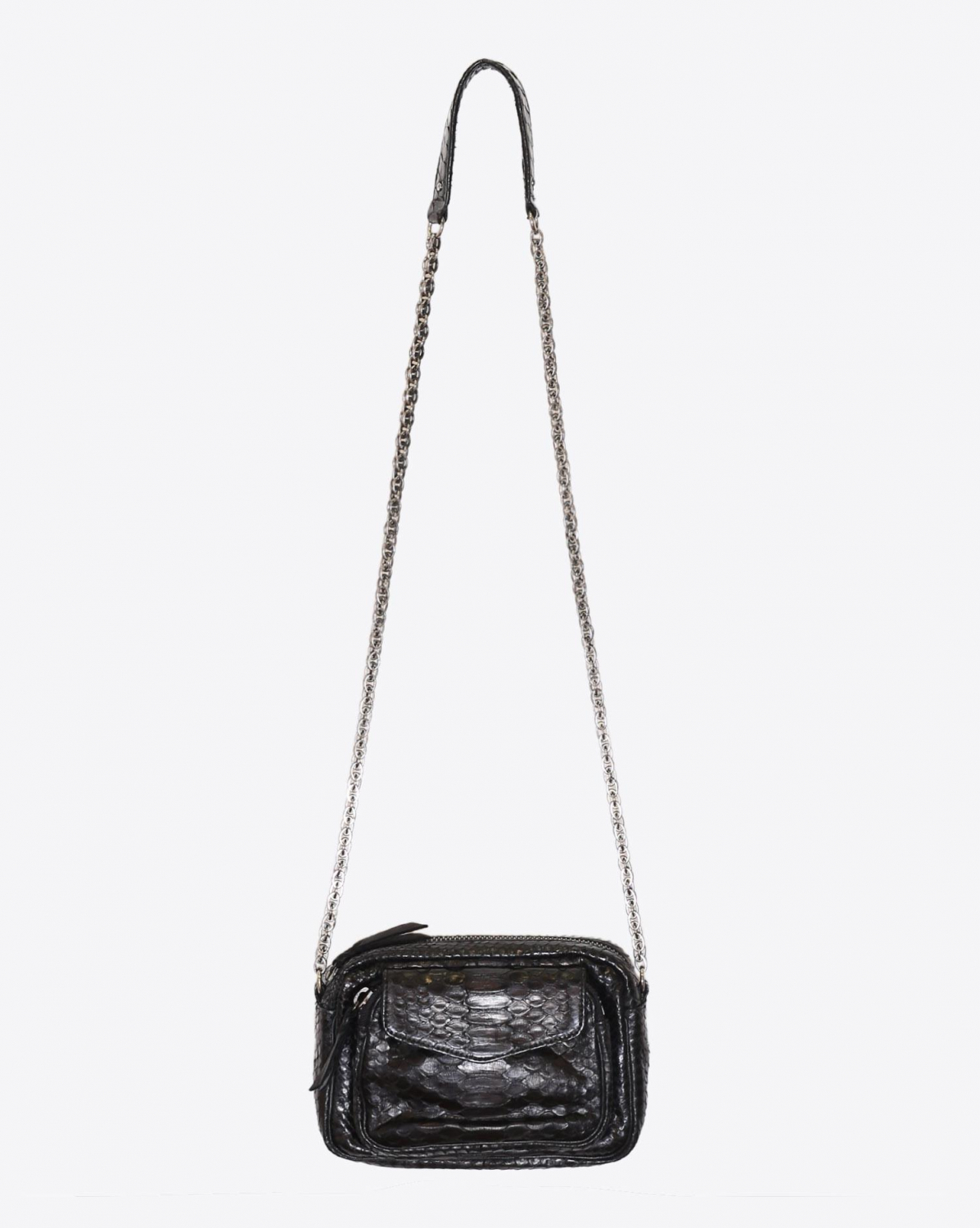 Claris Virot Sac Python Charly Noir Chaine Argent
