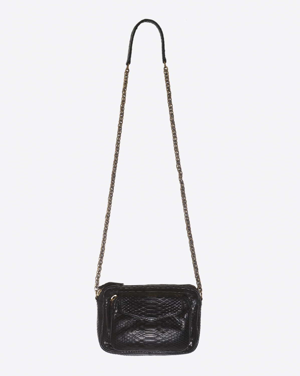 Claris Virot Sac Python Charly Noir Chaine Or