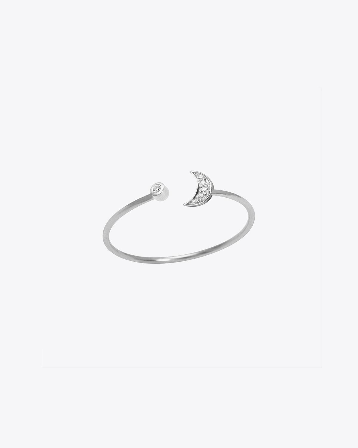 Feidt Bague Lune ouverte In the Moon for love - Or blanc 18k, Diamants