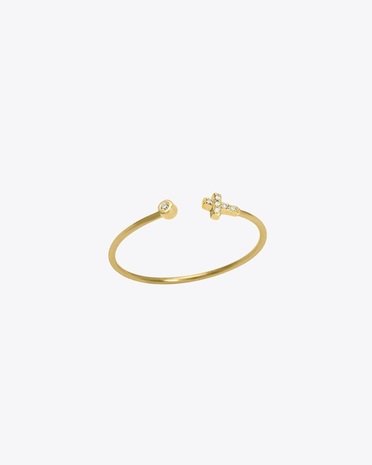 Feidt Bague croix ouverte In the Moon for love - Or jaune 18k, Diamants