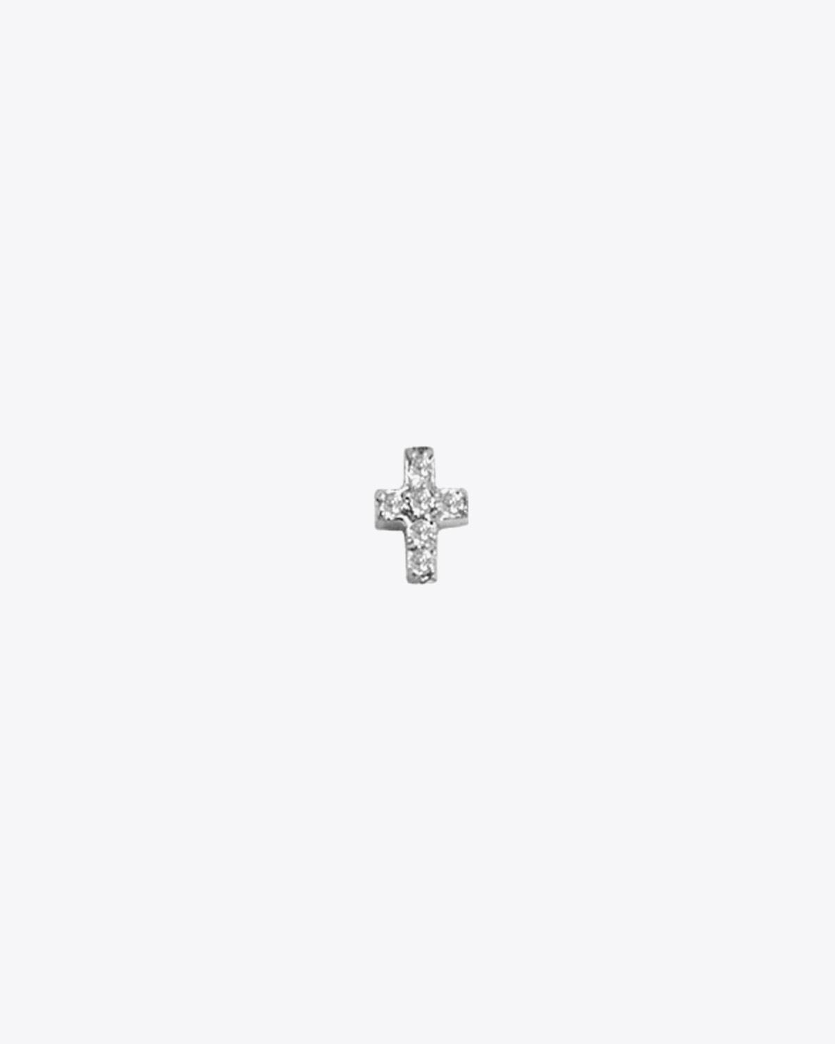 Feidt Boucle d`Oreille Mini Croix Diamants In the Moon for love - Or blanc 18k - L`unité