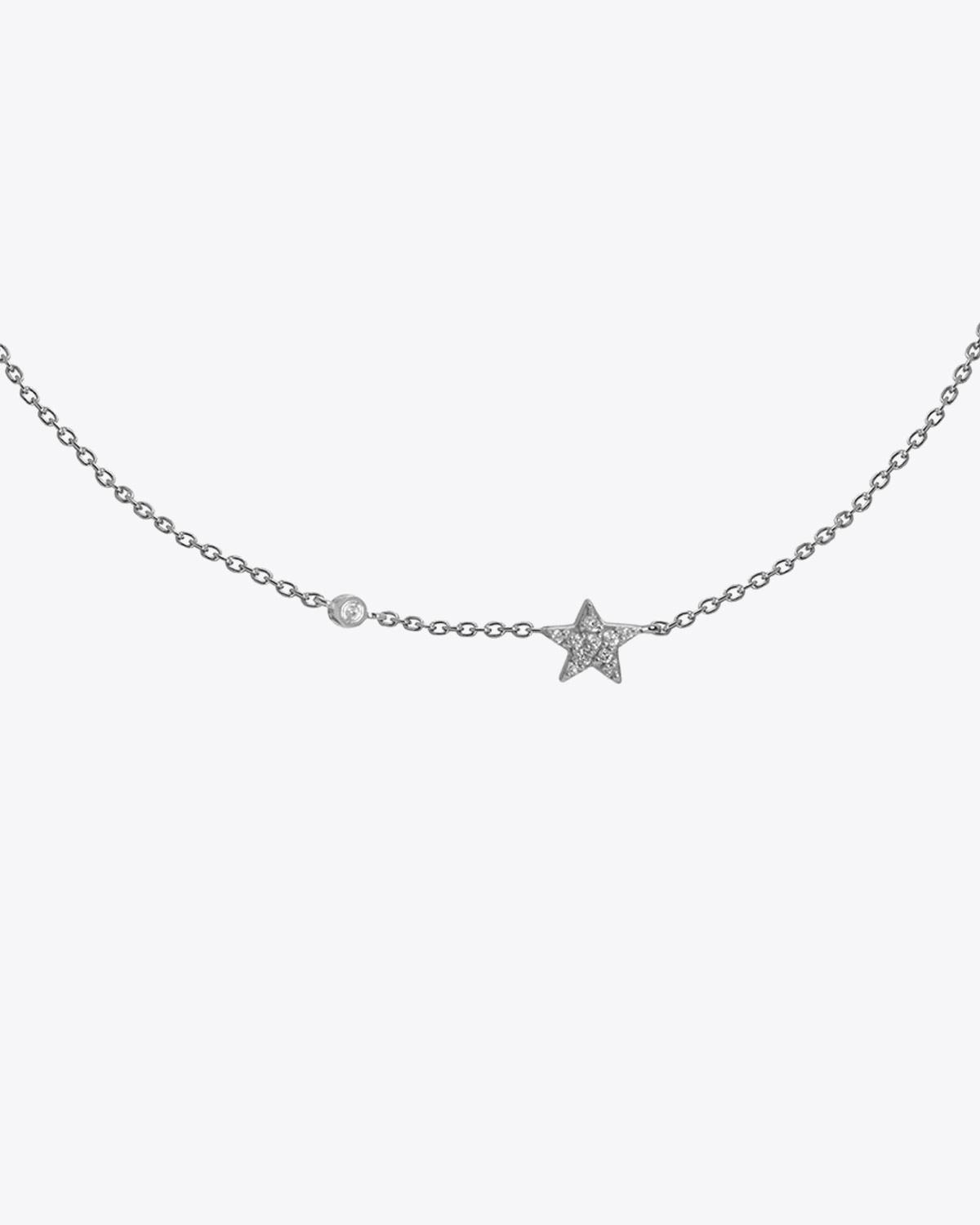 Feidt Collier mini Etoile + Diamant In the moon for love - Or blanc 18k