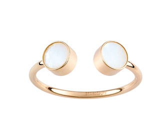 Ginette NY Double pearl cabochon ring - Or Rose 18K & Nacre