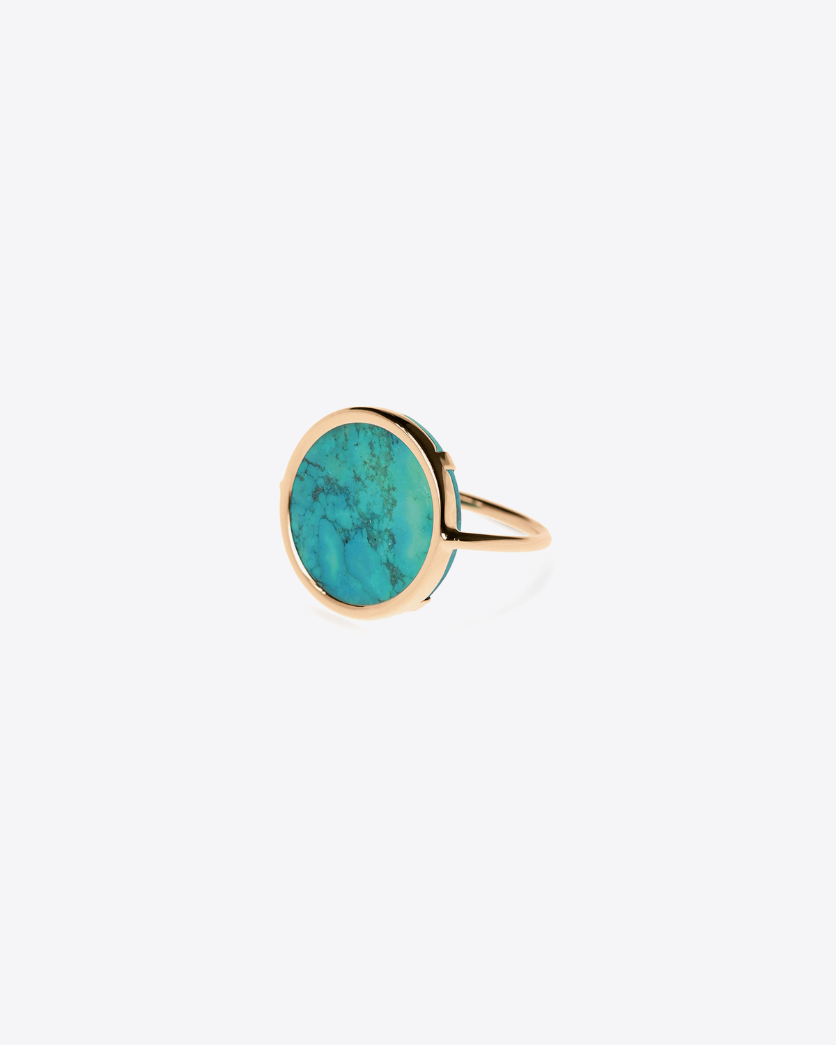Ginette NY Fallen sky disc ring - Or Rose & Turquoise