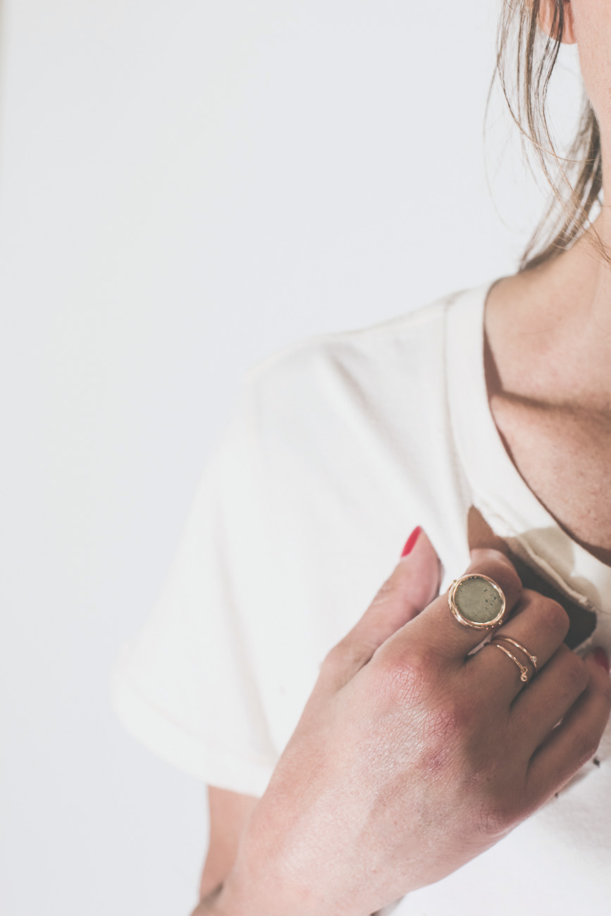 Ginette NY Fool's gold Disc Ring - Or Rose & Pyrite